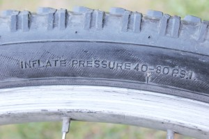Side wall of tyre showing PSI