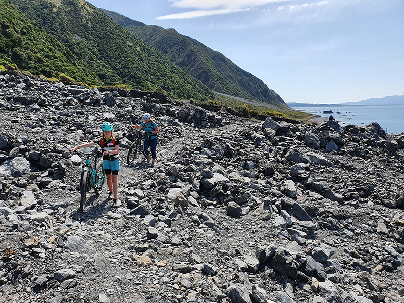 Rocky sections Rimutaka Cycle trail goRide