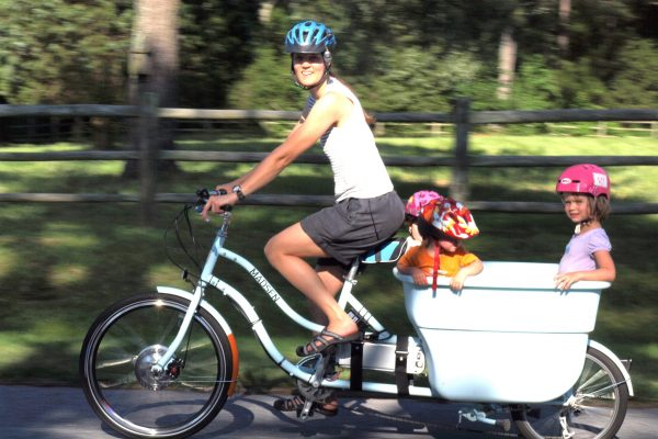 Yuba Mundo Cargo Bike carrying 3 children