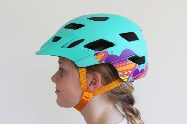 Bell Sidetrack Youth Helmet. Sideview on head.goRide