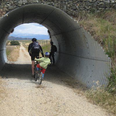 Otago Rail trail kids connected to bikes Sam goRide