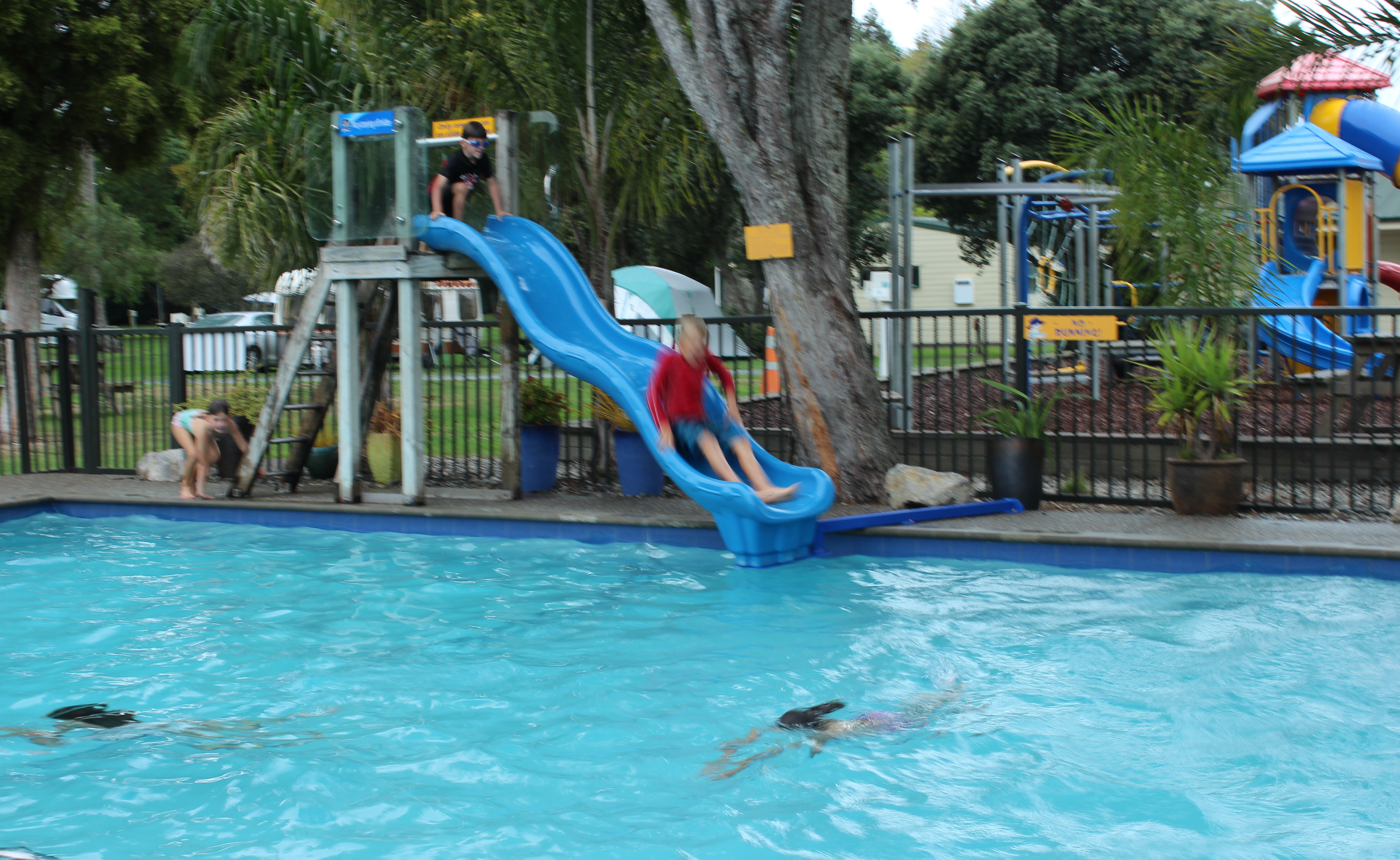 get inspired kids biking Nelson Kaiteriteri New Zealand Great Taste Bike Trail  Top 10 Motueka Holiday Park pool slide fun goRide