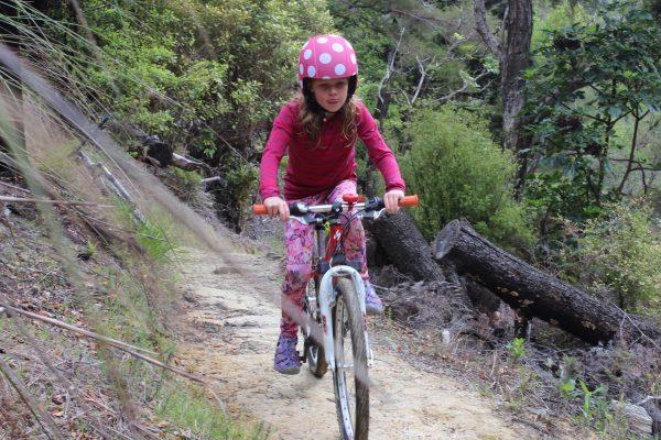 egg-bike-helmet on the trail. goRide