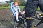 rear frame mount seat & toddler helmet - bike path riding