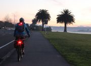 Road riding helmet - lights for visibility