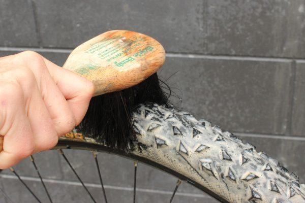 Bike brush cleaning bike tyres goRide
