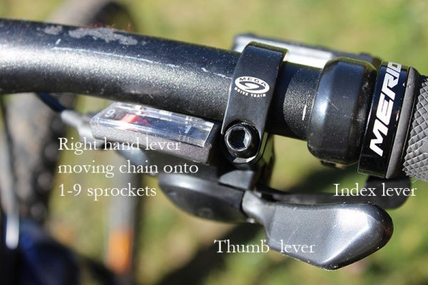 Right hand shifter levers labelled goRide