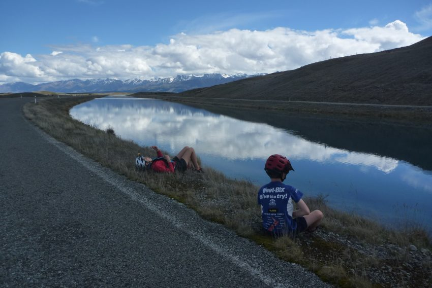 Snack time Tekapo Canals. Alps to Ocean. goRide