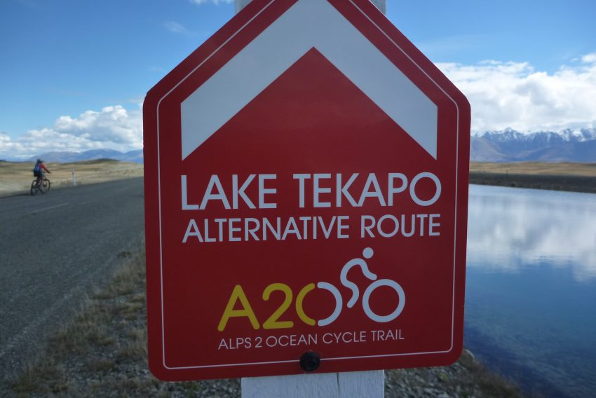 Lake Tekapo Alternate Route signs. Alps to Ocean. goRide