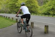 Bike in women's padded lycra bike pants
