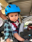 Toddler helmet and front bike seat riding