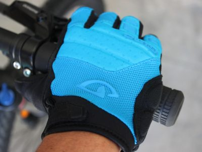 Light blue full length womens bike glove