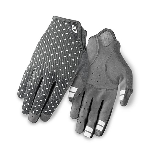Womens grey dot town biking glove front and back goRide 500w