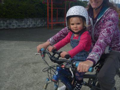 Shotgun kids mountain bike seat & 2yr old. goRide