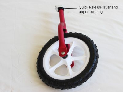 Front wheel and forks Cruzee balance bike named