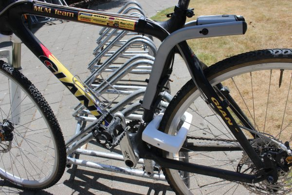 U-Lock fixed to a bike rack. goRide