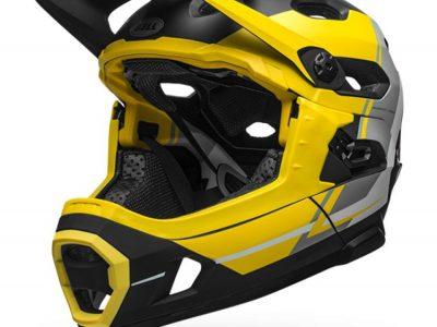 Bell DH full face helmet - front. Yellow:Silver. goRide