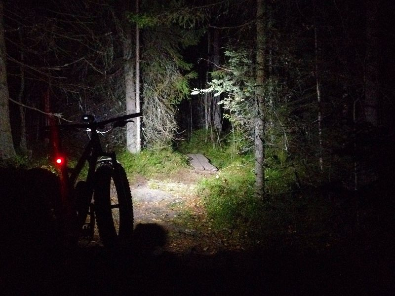Front rear light on bike mountain biking