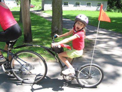 Adams Trailer Bike. Black on street. goRide