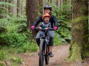 Yepp Mini A-Head Adaptor - Mum mountain biking with toddler