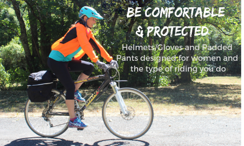 Be comfortable and protected - Women designed gloves helmets and padded pants