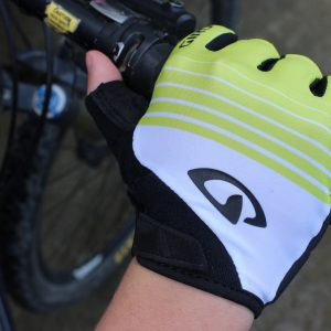 fingerless recreation glove on bike handlebar.