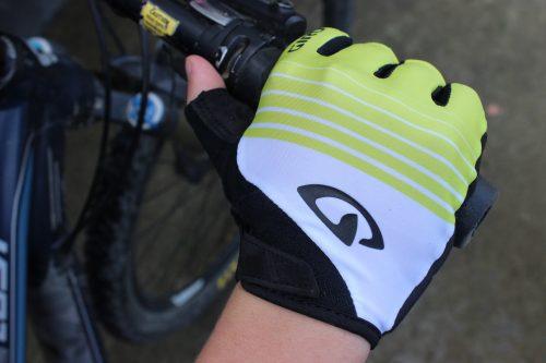 fingerless recreation glove on bike handlebar.