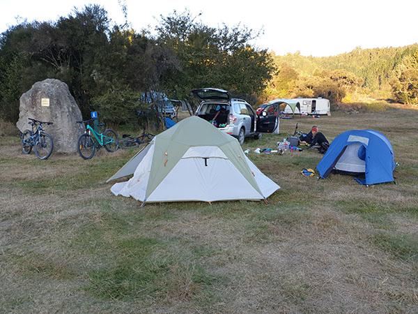 Setting up camp DOC campground Piropiro Timber Trail NZ goRide resized