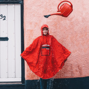 Waterproof poncho & winter glove combo - be dry, warm & comfortable