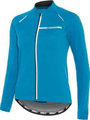 Thermal bike jacket. blue front view. goRide