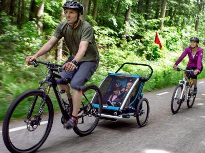 Bike trailers for kids - family riding. goRide