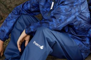 Kids waterproof pant & jacket. Blue. goRide