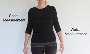 Chest & waist measurement lines. goRide